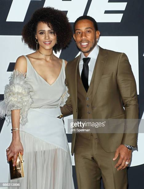Actors Nathalie Emmanuel and Ludacris attend The Fate Of The Furious New York premiere at Radio City Music Hall on April 8 2017 in New York City