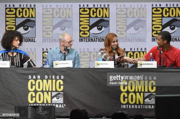 Actors Nathalie Emmanuel Liam Cunningham Sophie Turner and Jacob Anderson speak onstage at ComicCon International 2017 'Game Of Thrones' panel And QA...