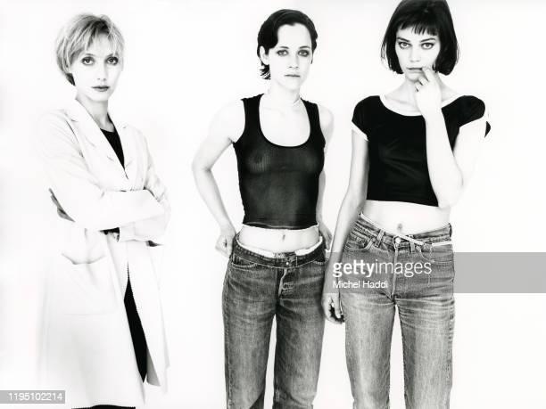 Actors Nathalie Richard Laurence Cote Marianne Denicourt are photographed for Premiere magazine in 1994 Paris France
