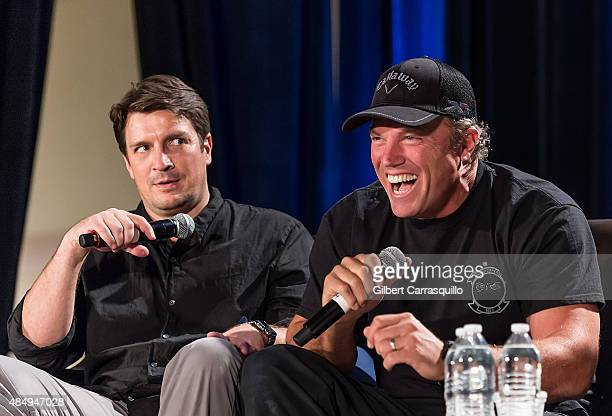 Actors Nathan Fillion and Adam Baldwin attend Wizard World Comic Con Chicago 2015 Day 3 at Donald E Stephens Convention Center on August 22 2015 in...