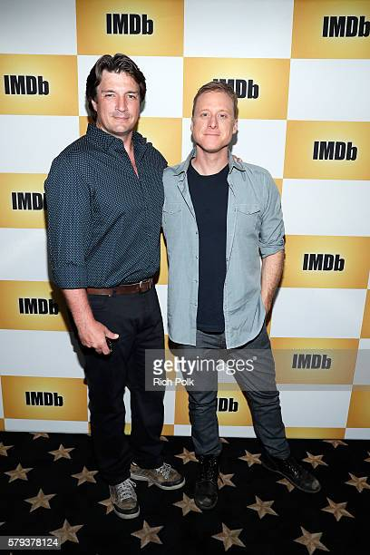 Actors Nathan Fillion and Alan Tudyk attend the IMDb Yacht at San Diego ComicCon 2016 Day Three at The IMDb Yacht on July 23 2016 in San Diego...