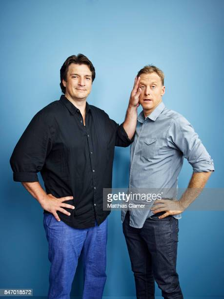 Actors Nathan Fillion and Alan Tudyk from 'Con Man' are photographed for Entertainment Weekly Magazine on July 23 2016 at Comic Con in the Hard Rock...