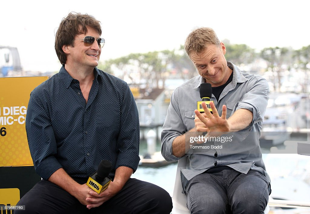 Actors Nathan Fillion (L) and Alan Tudyk of Con Man attend the IMDb Yacht at San Diego Comic-Con 2016: Day Three at The IMDb Yacht on July 23, 2016 in San Diego, California.