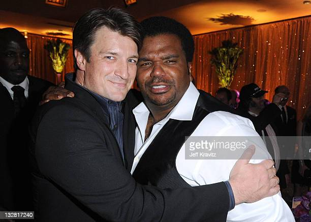 Actors Nathan Fillion and Craig Robinson attend the official HBO SAG Awards after party held at at Spago on January 29 2011 in Beverly Hills...