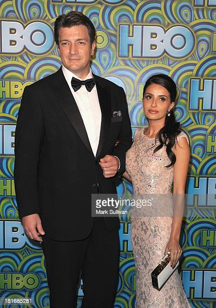 Actors Nathan Fillion and Mikaela Hoover attend HBO's Post Emmy Awards party at Pacific Design Center on September 22, 2013 in West Hollywood,...