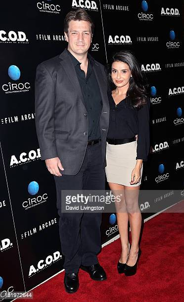 "Actors Nathan Fillion and Mikaela Hoover attend the premiere of the Film Arcade's ""A.C.O.D."" at the Landmark Theater on September 26, 2013 in Los..."