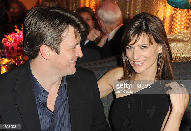 Actors Nathan Fillion and Perrey Reeves attend the official HBO SAG Awards after party held at at Spago on January 29 2011 in Beverly Hills California