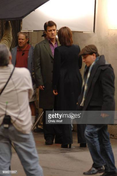 Actors Nathan Fillion and Stana Katic are seen on the set of 'Castle' on December 3 2009 in Los Angeles California