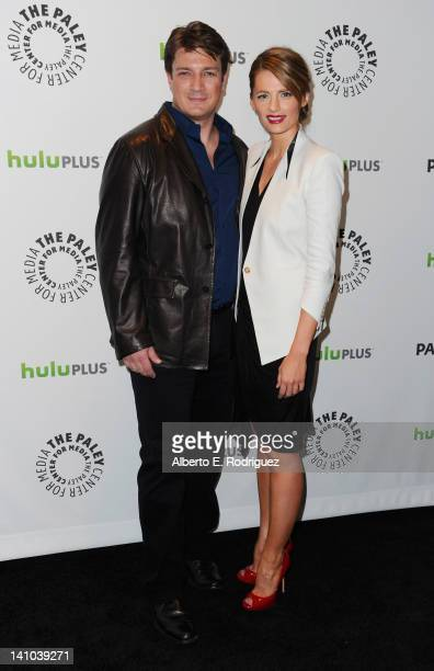 Actors Nathan Fillion and Stana Katic arrive to The Paley Center for Media's PaleyFest 2012 honoring 'Castle' at Saban Theatre on March 9 2012 in...