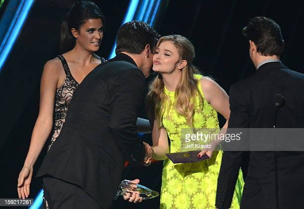Actors Nathan Fillion Chloe Moretz and Matt Bomer onstage during the 2013 People's Choice Awards at Nokia Theatre LA Live on January 9 2013 in Los...