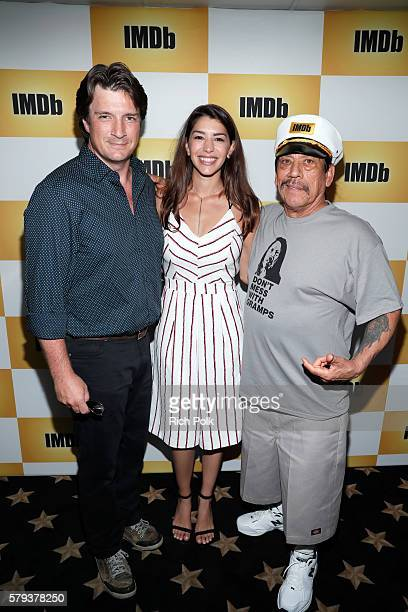 Actors Nathan Fillion Jamie Gray Hyder and Danny Trejo attend the IMDb Yacht at San Diego ComicCon 2016 Day Three at The IMDb Yacht on July 23 2016...