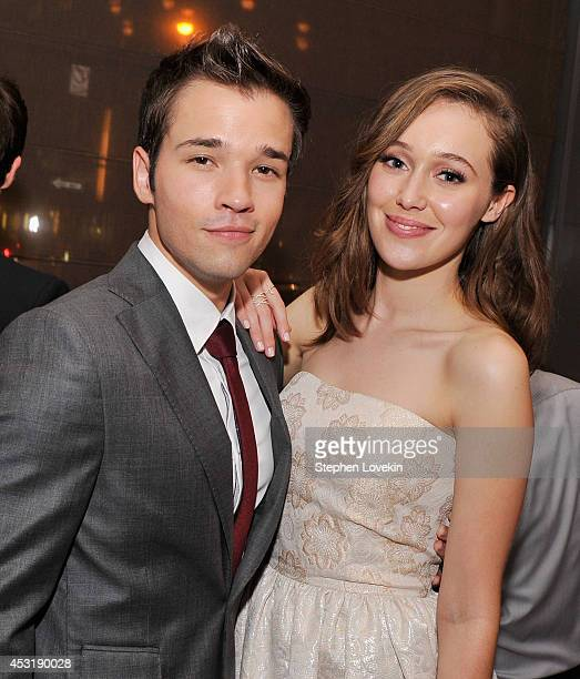 Actors Nathan Kress and Alycia DebnamCarey attend the afterparty for the premiere of 'Into The Storm' at The Wayfarer on August 4 2014 in New York...