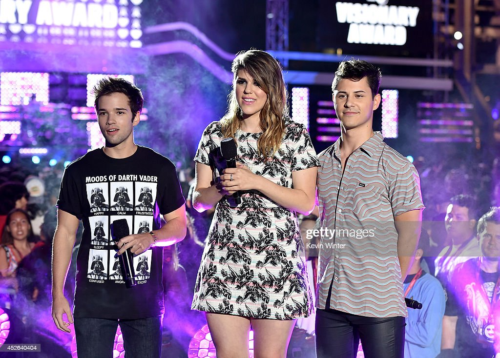 Actors Nathan Kress, Molly Tarlov and Michael J. Willett speak onstage during MTVu Fandom Awards during Comic-Con International 2014 at PETCO Park on July 24, 2014 in San Diego, California.