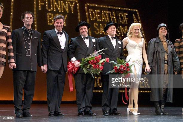 Actors Nathan Lane and Matthew Broderick take a final bow after their last performance in 'The Producers' at the St James Theatre March 17 2002 in...