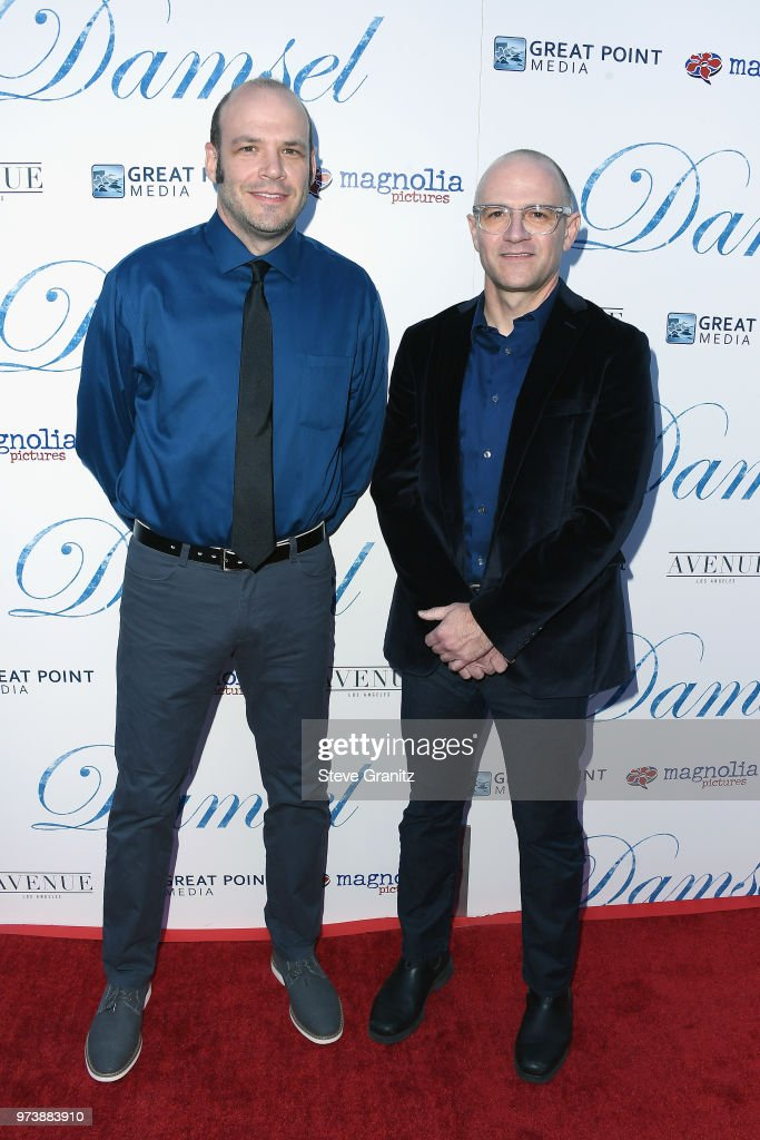 Actors Nathan Zellner and David Zellner attend Magnolia Pictures' 'Damsel' premiere at ArcLight Hollywood on June 13, 2018 in Hollywood, California.