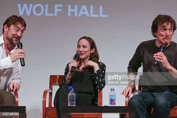 "Actors Nathaniel Parker, Lydia Leonard and Ben Miles appear on stage during the SAG Conversations On Broadway ""Wolf Hall"" held at The New School on..."