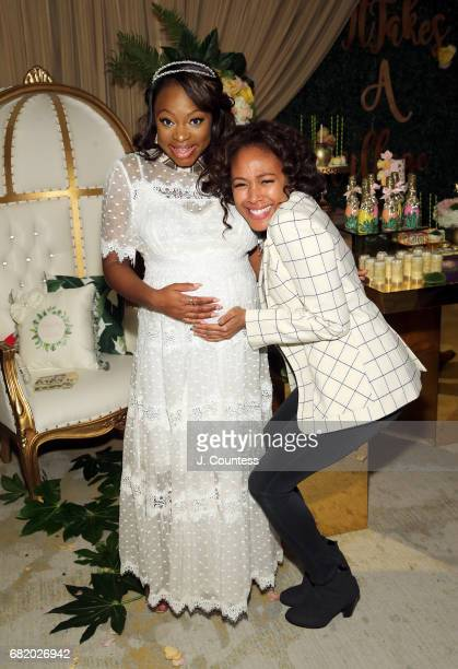 Actors Naturi Naughton and Nicole Beharie pose for a photo during Naturi Naughton's Baby Shower at The Dazzler Hotel on May 7 2017 in the Brooklyn...