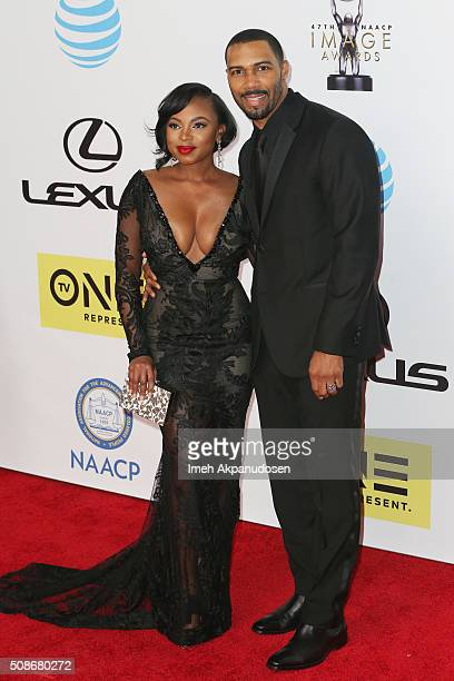 Actors Naturi Naughton and Omari Hardwick attend the 47th NAACP Image Awards presented by TV One at Pasadena Civic Auditorium on February 5 2016 in...
