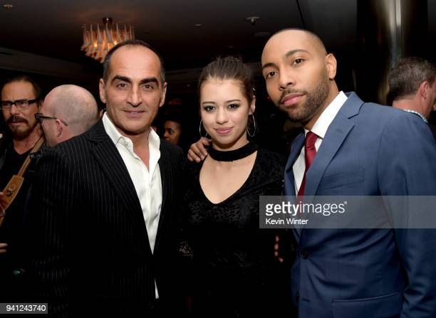 Actors Navid Negahban Amber Midthunder and Jeremie Harris pose at the after party for the season 2 premiere of FX's 'Legion' at Soho House on April 2...