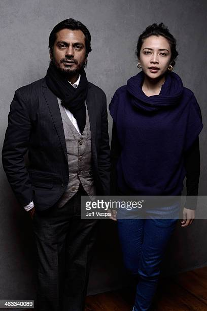 Actors Nawazuddin Siddiqui and Geetanjali Thapa pose for a portrait during the 2014 Sundance Film Festival at the WireImage Portrait Studio at the...