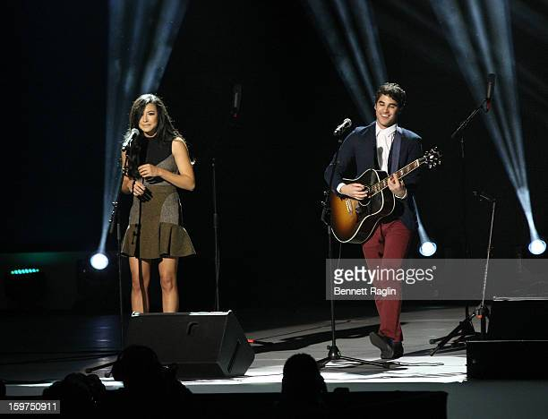 Actors Naya Rivera and Darren Criss perform during the 2013 Kids' Inaugural Our Children Our Future on January 19 2013 in Washington United States