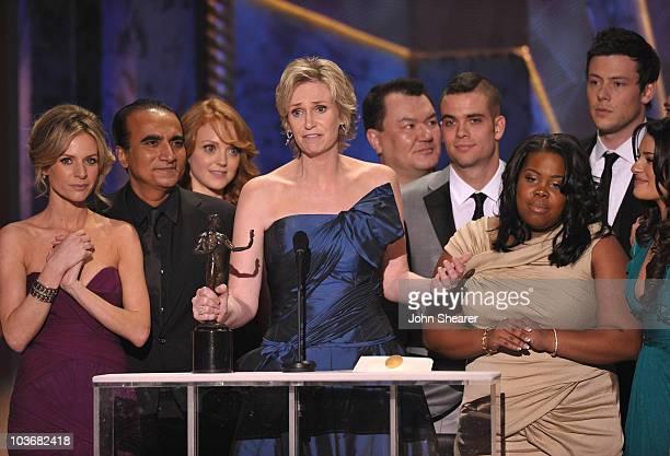Actors Naya Rivera Jessalyn Gilsig Iqbal Theba Jayma Mays Jane Lynch Patrick Gallager Mark Salling Amber Riley Lea Michele and Cory Monteith onstage...