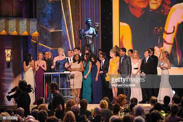 Actors Naya Rivera, Jessalyn Gilsig, Iqbal Theba, Jayma Mays, Jane Lynch, Patrick Gallager, Mark Salling, Amber Riley, Lea Michele, Matthew Morrison,...