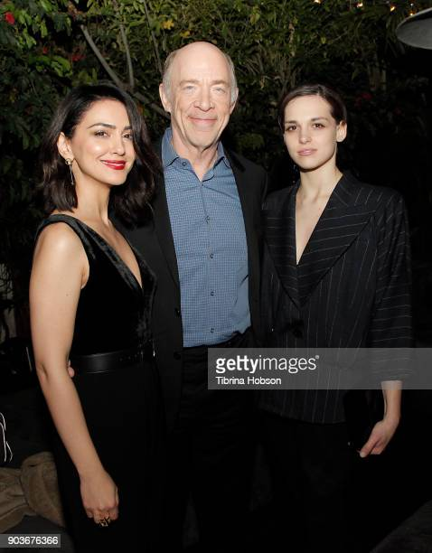 Actors Nazanin Boniadi J K Simmons and Sara Serraiocco attend the premiere of Starz's 'Counterpart' after party on January 10 2018 in Los Angeles...