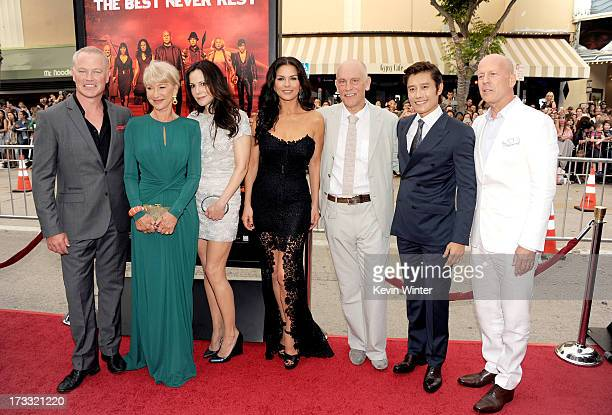Actors Neal McDonough Helen Mirren MaryLouise Parker Catherine ZetaJones John Malkovich Byunghun Lee and Bruce Willis attend the premiere of Summit...