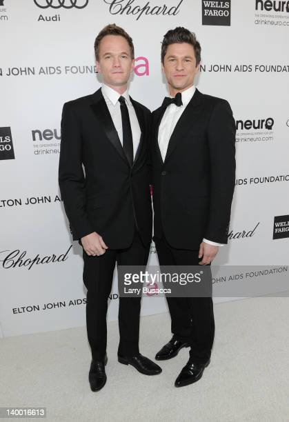 Actors Neal Patrick Harris and David Burtka arrive at the 20th Annual Elton John AIDS Foundation Academy Awards Viewing Party at The City of West...