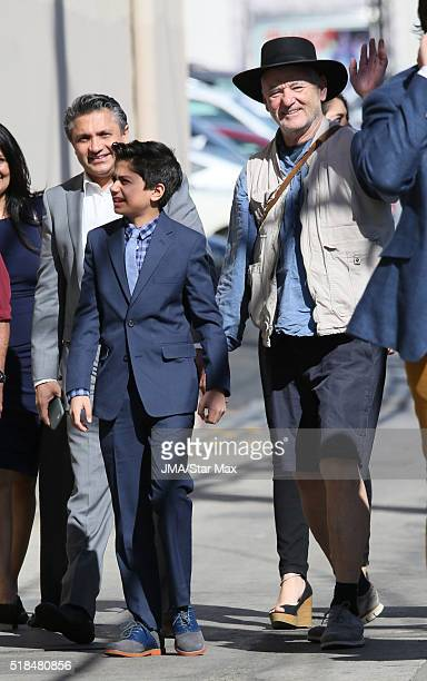 Actors Neel Sethi and Bill Murray are seen at 'Jimmy Kimmel Live' on March 31 2016 in Los Angeles California