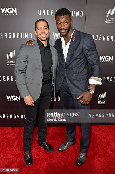 Actors Neil Brown Jr and Aldis Hodge attend WGN America's 'Underground' World Premiere on March 2 2016 in Los Angeles California