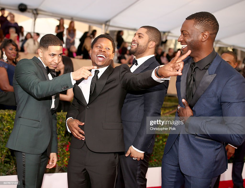 Actors Neil Brown, Jr., Jason Mitchell, O'Shea Jackson Jr. and Aldis Hodge attend The 22nd Annual Screen Actors Guild Awards at The Shrine Auditorium on January 30, 2016 in Los Angeles, California. 25650_018