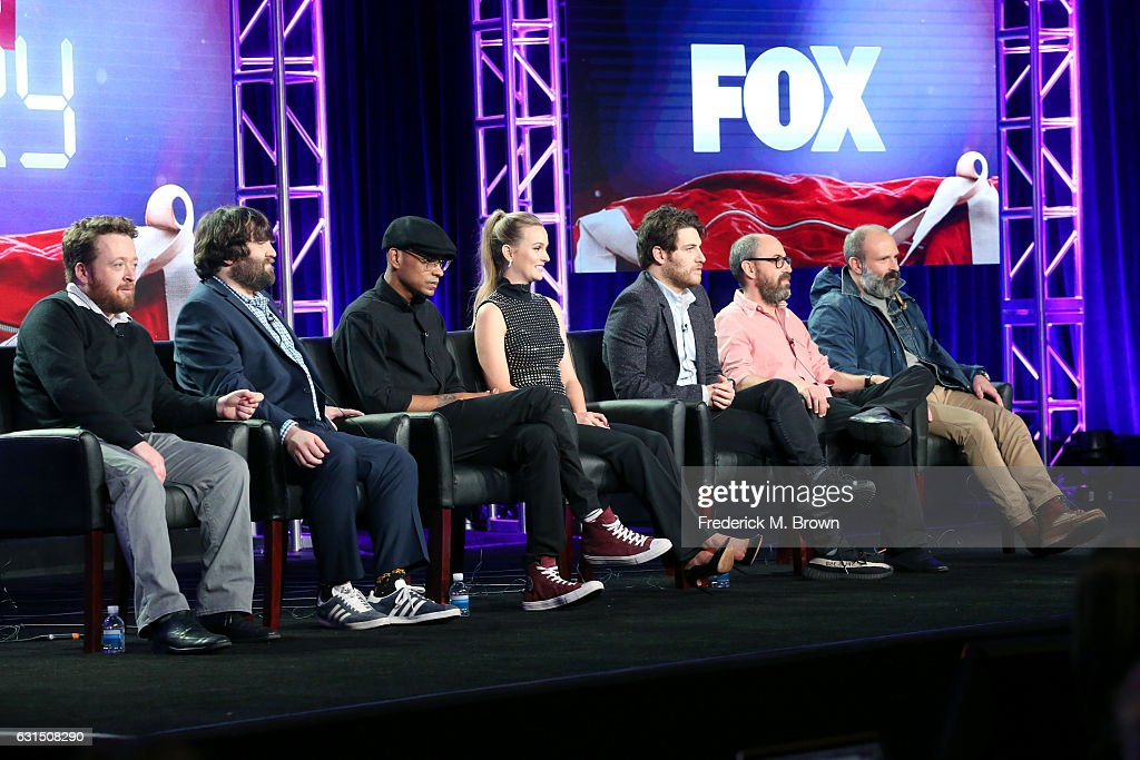 Actors Neil Casey, John Gemberling, Yassir Lester, Leighton Meester, and Adam Pally, Creator/Executive producer Julius Sharpe, and Executive producer Seth Cohen of the television show 'Making History' speak onstage during the FOX portion of the 2017 Winter Television Critics Association Press Tour at Langham Hotel on January 11, 2017 in Pasadena, California.