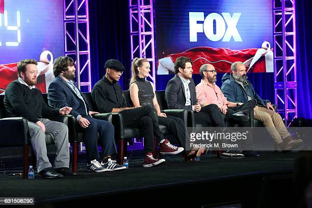 Actors Neil Casey, John Gemberling, Yassir Lester, Leighton Meester, and Adam Pally, Creator/Executive producer Julius Sharpe, and Executive producer...