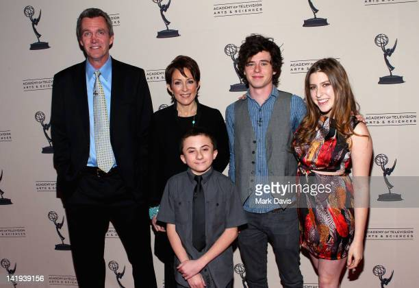 Actors Neil Flynn Patricia Heaton Atticus Shaffer Charlie McDermott and Eden Sher pose at the Academy Of Television Arts Sciences presentation of an...