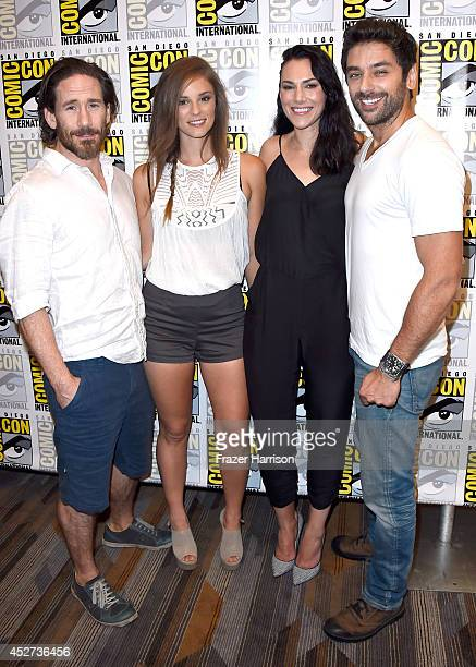 "Actors Neil Napier, Jordan Hayes, Kyra Zagorsky, and Mark Ghanime attend the ""Helix"" press line during Comic-Con International 2014 at Hilton..."
