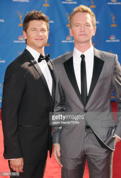 Actors Neil Patrick Harris and David Burtka arrive at the 62nd Annual Primetime Emmy Awards held at the Nokia Theatre LA Live on August 29 2010 in...