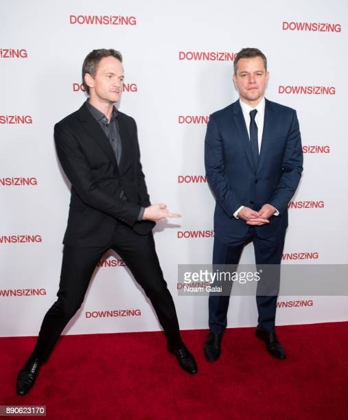 Actors Neil Patrick Harris and Matt Damon attend the 'Downsizing' New York screening at AMC Lincoln Square Theater on December 11 2017 in New York...