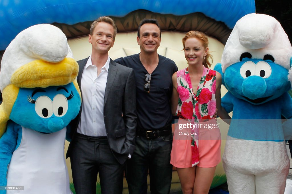 Actors Neil Patrick Harris, Hank Azaria, and Jayma Mays attend the New York Smurf Week kick off ceremony at Smurfs Village at Merchant's Gate, Central Park on July 25, 2011 in New York City.