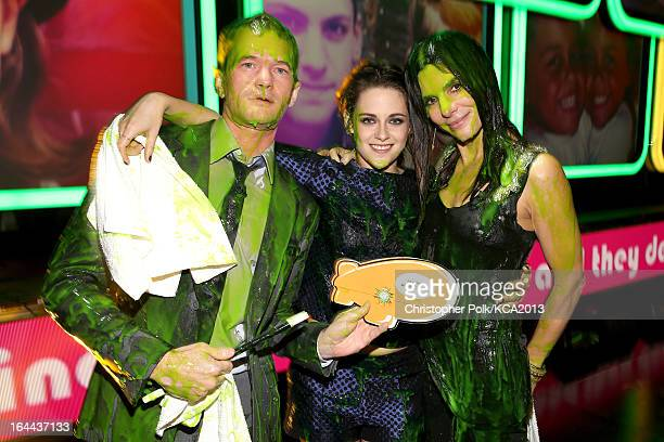 Actors Neil Patrick Harris Kristen Stewart and Sandra Bullock seen backstage at Nickelodeon's 26th Annual Kids' Choice Awards at USC Galen Center on...