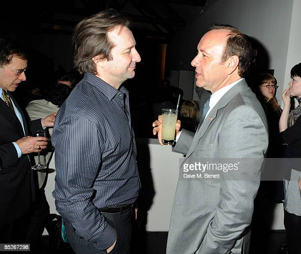 Actors Neil Pearson and Kevin Spacey attend the after party following the press night of 'Dancing At Lughnasa' at Baltic on March 5 2009 in London...