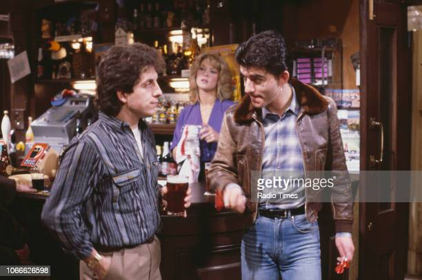 Actors Nejdet Salih Gillian Taylforth and John Altman in a scene from the BBC soap opera 'EastEnders' 1984
