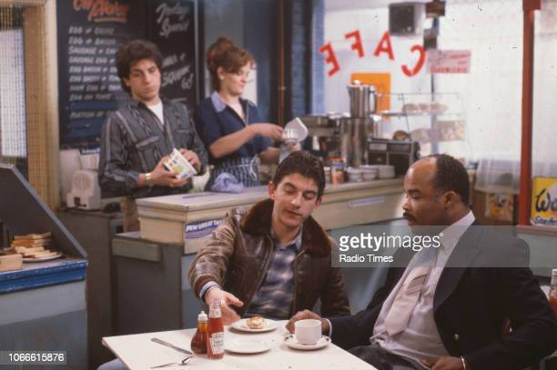 Actors Nejdet Salih Sandy Ratcliff John Altman and Oscar James in a scene from the BBC soap opera 'EastEnders' January 9th 1985