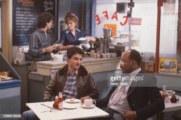 Actors Nejdet Salih Sandy Ratcliff John Altman and Oscar James in a scene from the BBC soap opera 'EastEnders' January 10th 1985