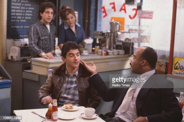Actors Nejdet Salih Sandy Ratcliff John Altman and Oscar James in a scene from the BBC soap opera 'EastEnders' November 21st 1984