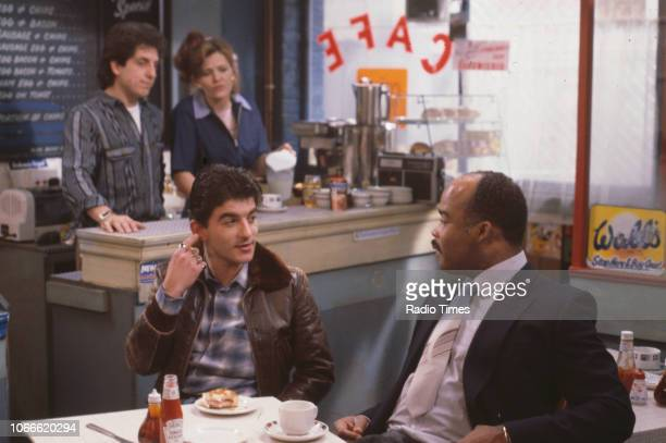 Actors Nejdet Salih Sandy Ratcliff John Altman and Oscar James in a scene from the BBC soap opera 'EastEnders' November 21st 1984