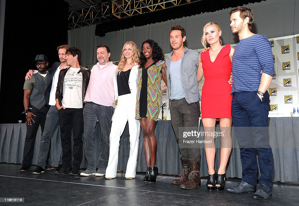 Actors Nelsan Ellis, Alexander Skarsgard, Stephen Moyer, producer Alan Ball, and actors Kristen Bauer, Rutina Wesley, Kevin Alejandro, Anna Paquin and Ryan Kwanten speak at HBO's 'True Blood' Panel during Comic-Con 2011 and the San Diego Convention Center on July 22, 2011 in San Diego, California.