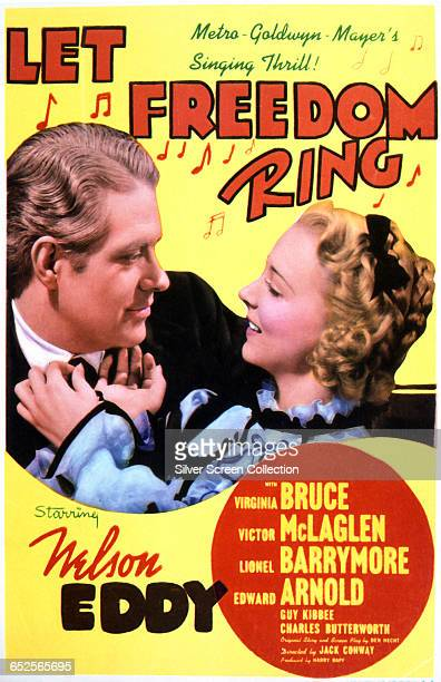 Actors Nelson Eddy as Steve Logan and Virginia Bruce as Maggie Adams on a poster for the MGM musical romance 'Let Freedom Ring' 1939