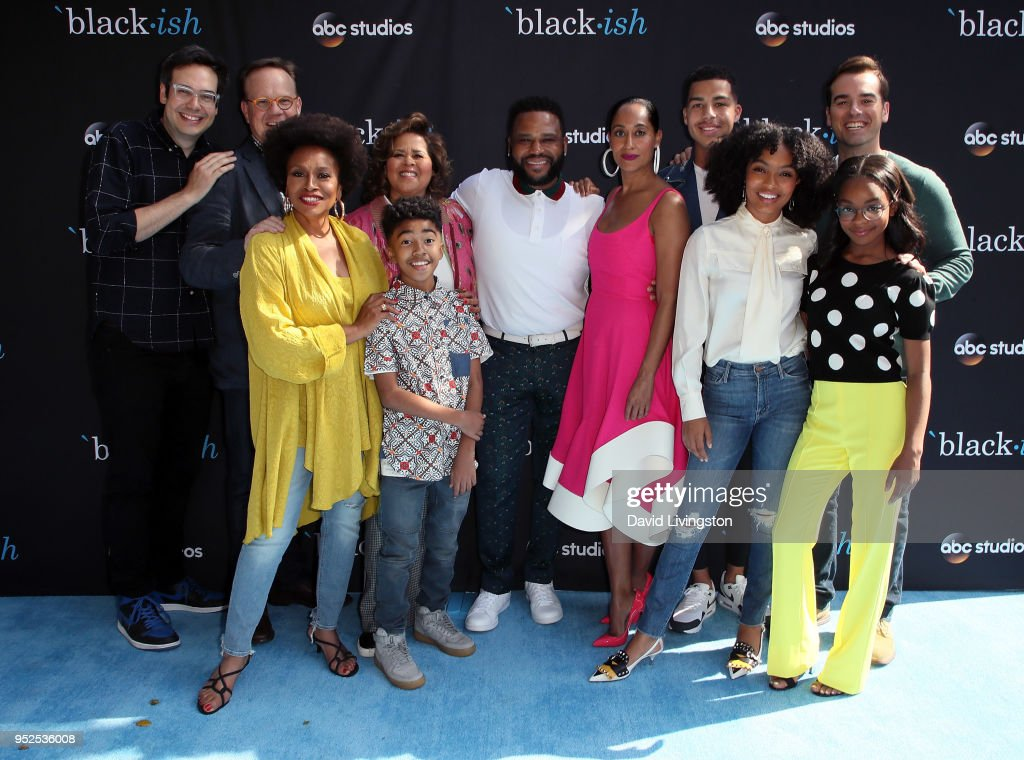 Actors Nelson Franklin, Peter Mackenzie, Jenifer Lewis, Anna Deavere Smith, Miles Brown, Anthony Anderson, Tracee Ellis Ross, Marcus Scribner, Yara Shahidi, Jeff Meacham and Marsai Martin attend the FYC event for ABC's 'Blackish' at Walt Disney Studios on April 28, 2018 in Burbank, California.